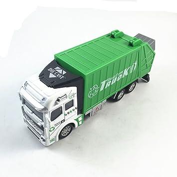 Aleación mezclador de cemento basura Saneamiento de simulación de camiones de riego modelo del coche de la aleación del camión de basura-verde: Amazon.es: ...