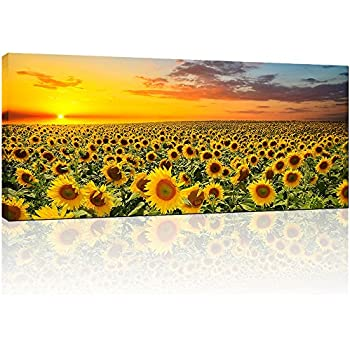 Sunflower Canvas Wall Art Prints,Brilliant Sunflower Paintings Printed On  Canvas,Framed And Stretched