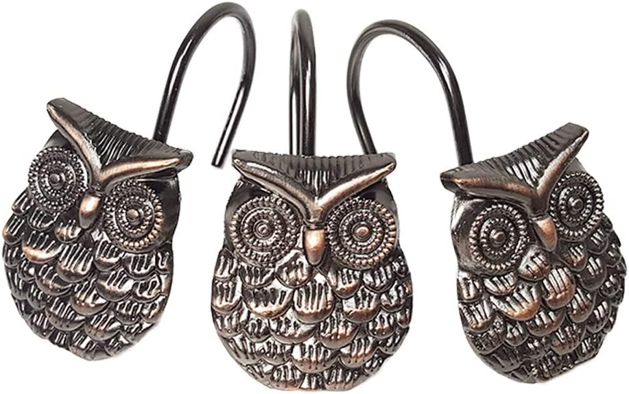 Owl Shower Curtain Hooks 12Pcs - Zinc Alloy Decorative Rust Proof Shower Curtain Hooks for Bathroom Hanger Living Room Bedroom Decor