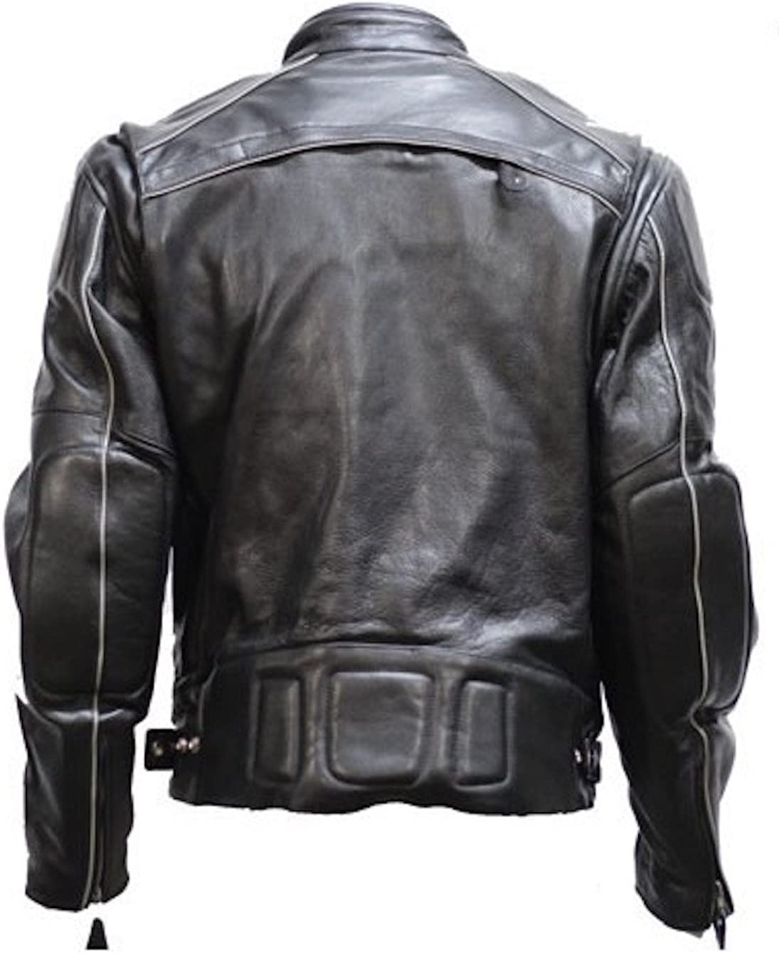 Mens Vented Naked Cowhide Leather Motorcycle Jacket Reflectors Front and Back