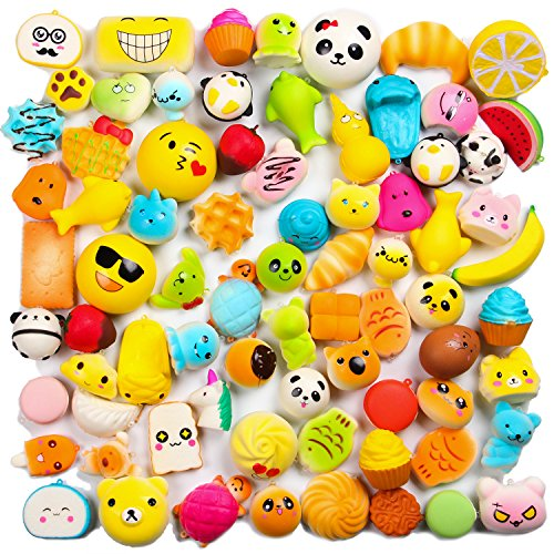 WATINC Random 20 pcs Squishies Cream Scented Slow Rising Kawaii Simulation Lovely Toy Medium Mini Soft Food squishies, Phone Straps (20P Donuts)