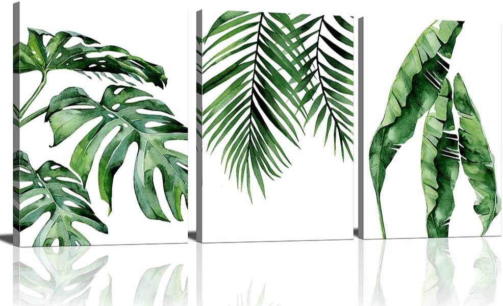 Wall Decor Canvas Wall Art for Living Room Bathroom Bedroom Office Kitchen Artwork Canvas Prints Tropical Plant Green Leaves Paintings Decor Monstera Cactus Greenery Modern Home Decor(12''x16''x3pcs, Green Leaves)