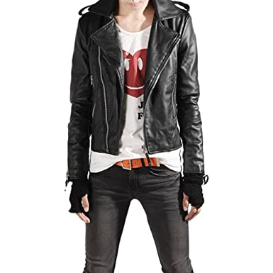 Gaori Men motorcycle PU leather slim fit lapel biker jacket short ...