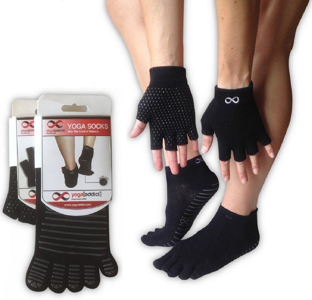 und Handschuh-Set Yogaaddict Yoga-Socken f/ür jede Art von Yoga und Pilates