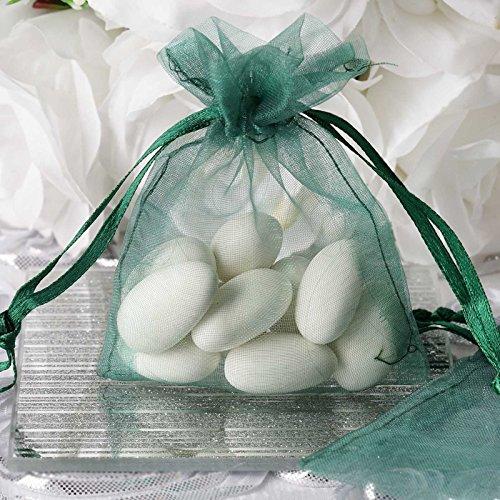 BalsaCircle 50 pcs 3x4-Inch Hunter Green Organza Drawstring Bags - Wedding Party Favors Jewelry Pouch Candy Bags (4 Hunter Green)