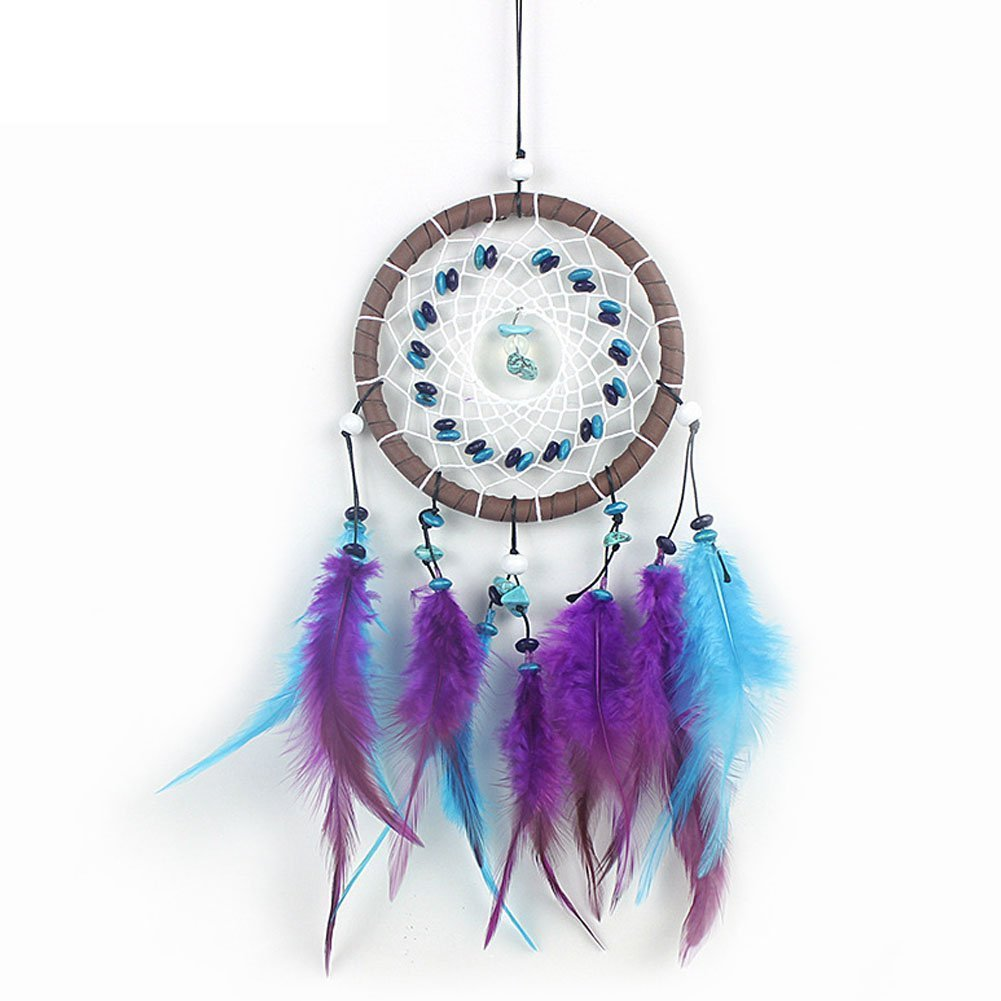 Circle Shaped Dream Catcher with Blue And Purple Feathers