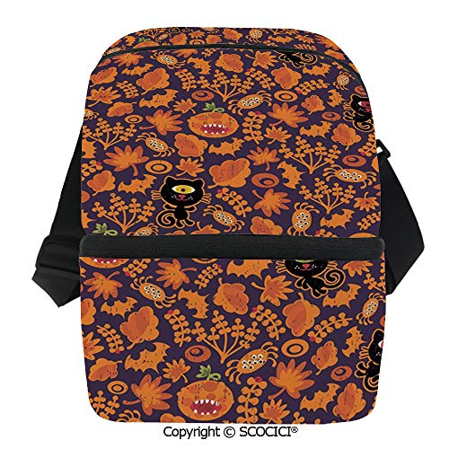 SCOCICI Reusable Insulated Grocery Bags Halloween Themed Elements on a Purple Background Scary Mosters Decorative Thermal Cooler Waterproof Zipper Closure Keeps Food Hot Or Cold -