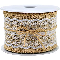 Burlap Ribbon Roll White with Lace Trims