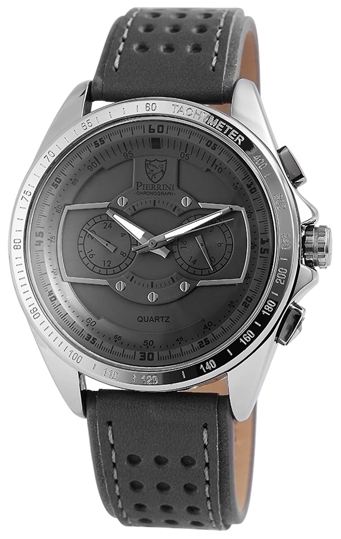 Pierrini Herren Dual Time Armbanduhr Lederband Analog Quarz Grau 291171500003