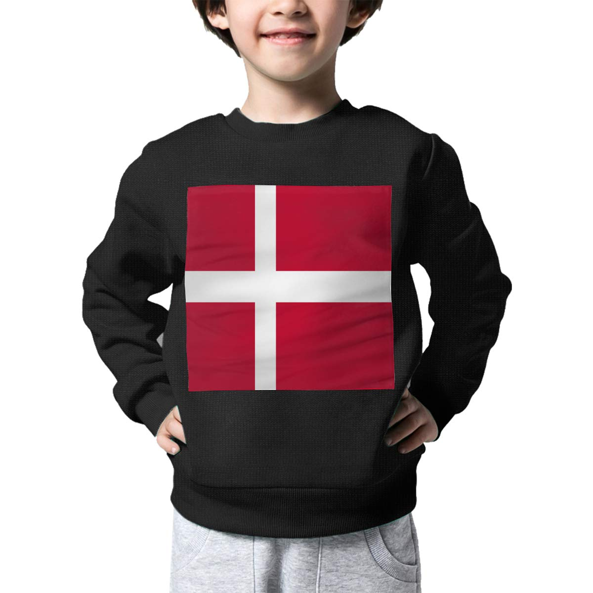 Warm/&Q90 Denmark Flag Print Toddler Kids Crew Neck Sweater Long Sleeve Cute Knit Top Blouse