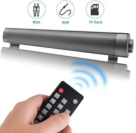 Kingberwi 10W Cine en casa Televisor Barra de Sonido Inalambrica TV Altavoces Portátil Soundbar Altavoz Inalambrico