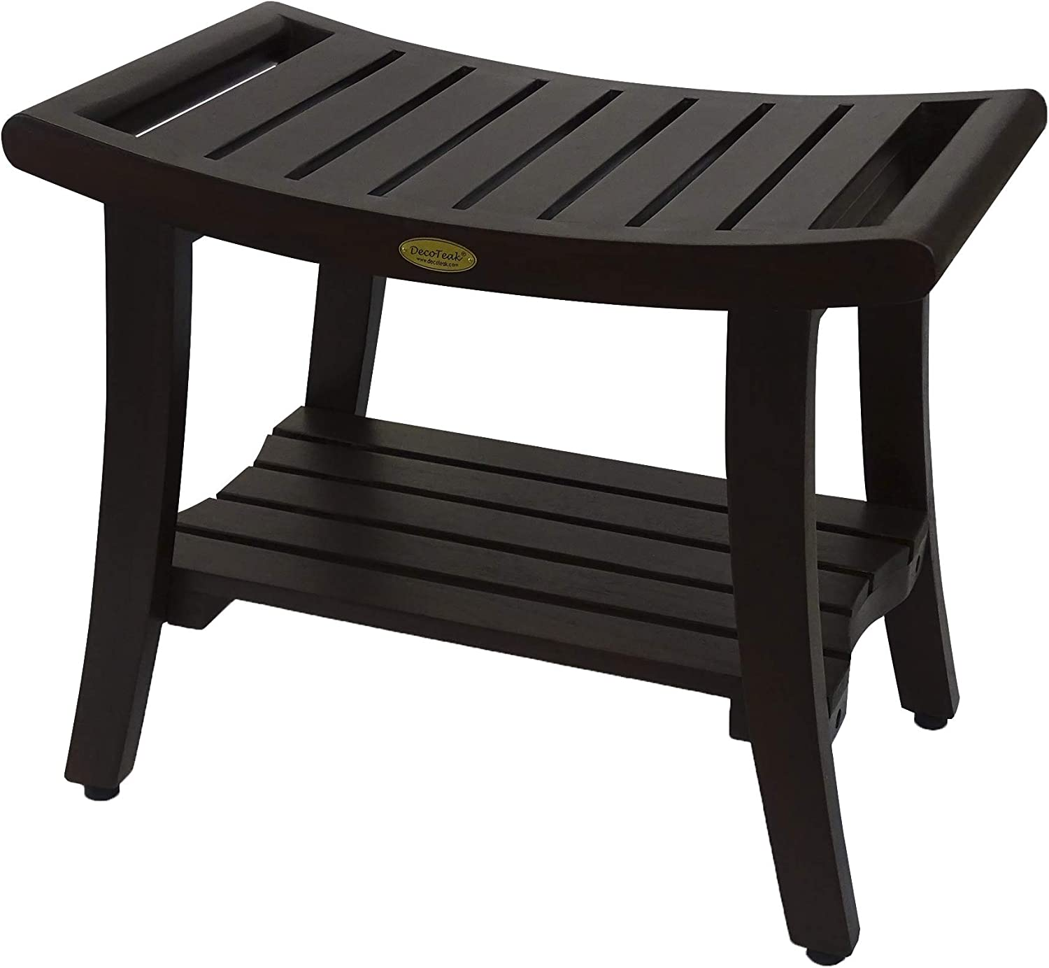 """Harmony 24"""" Teak Eastern Style Shower Bench with Shelf and Arms"""
