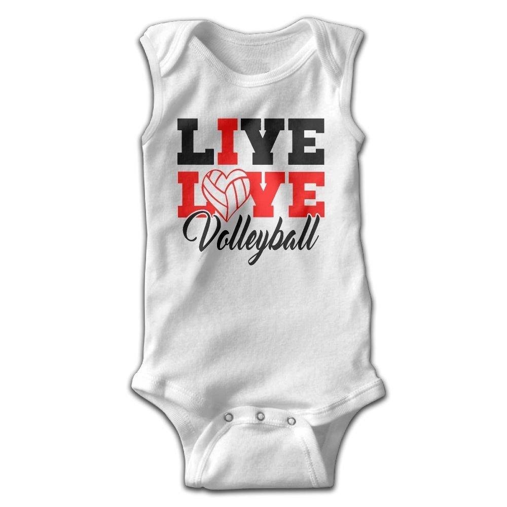 Live Love Volleybal Infant Baby Boys Girls Crawling Suit Sleeveless Romper Bodysuit Onesies Jumpsuit White