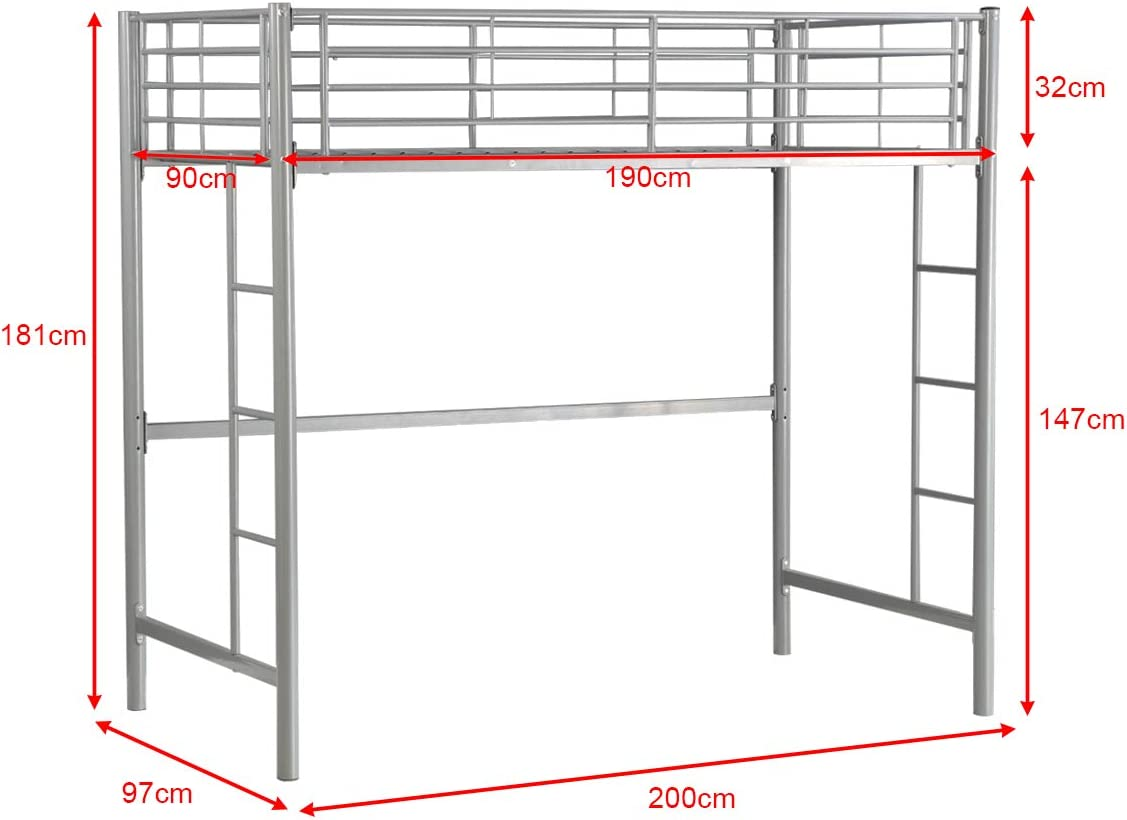 CASART 3FT High Bed with Twin Ladders and Safety Guardrail Silver High Sleeper /& Household Space Saver Metal Bunk Bed Loft Frame for Boys Girls Teens Kids Bedroom Dorm