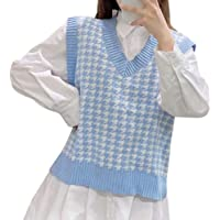 Suéter de Gran tamaño para Mujer Chaleco de Punto sin Mangas con Cuello en V Patrón de Pata de Gallo Ventilaciones…