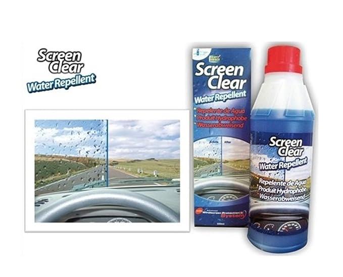 Repelente de agua Screen Clear, impide que el agua de lluvia se quede en la superficie del cristal de su vehículo, botella de 500 ml: Amazon.es: Hogar