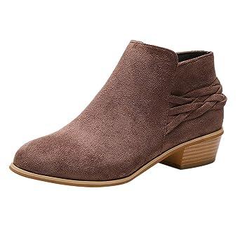 ❤ Botas de Moda para Mujer de Invierno, para Mujer Moda para Tobillo Sólido de Punto Flock Zapatos Short Boots Bootie Absolute: Amazon.es: Ropa y ...