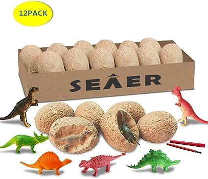 Amazon.com: SEAER Dino Huevo Dig Kit de 12 piezas Pascua ...