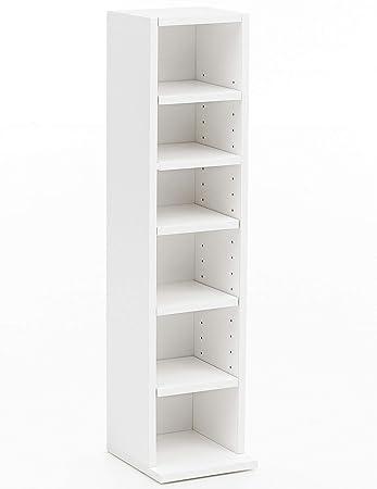 FineBuy Bücherregal FB12009 21x91x20cm mit 6 Fächern Weiß ...