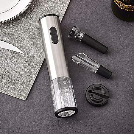 Sacacorchos Electrico recargable, Sacacorchos de vino de acero inoxidable, Viene con vertedor de vino, cortador de papel de aluminio, tapón de vacío, batería recargable, La mejor opción para regalos