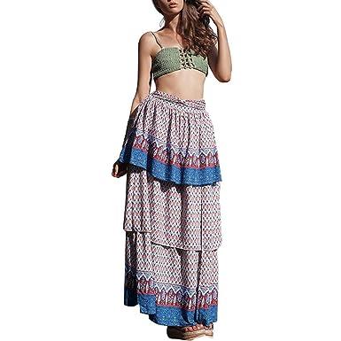 Boho Vintage Summer Falda Mujeres Estampado Floral Regalos ...