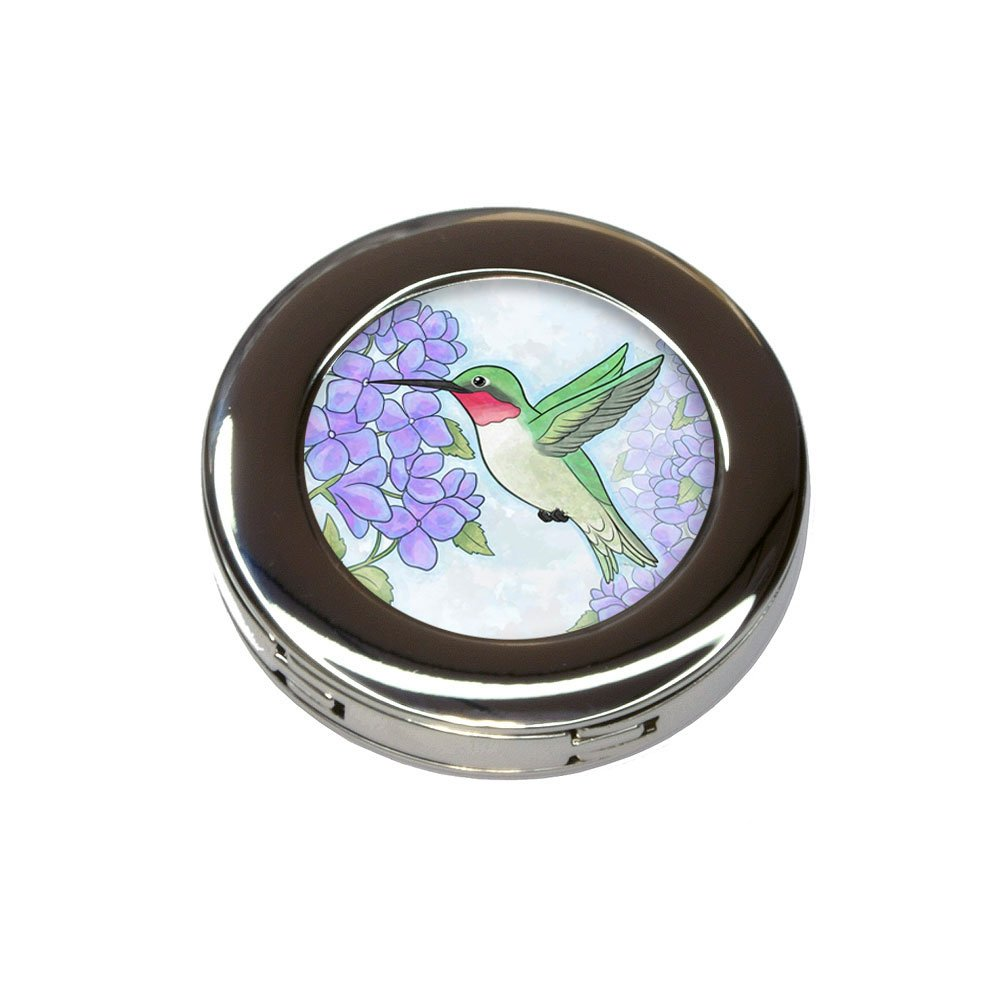 Hummingbird with Hydrangeas Foldable Purse Handbag Hook Hanger Holder
