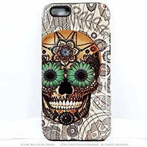 Premium Sugar Skull iPhone 5 5s TOUGH Case - Unusual iPhone 5 5s Case with Dia De Los Muertos Artwork - Bone Paisley