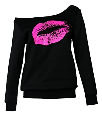 c30bad9be271e Amazon.com  Smile fish Women Casual 80s Sweatshirts Lips Print Off Shoulder  Pullover Hoodies  Clothing