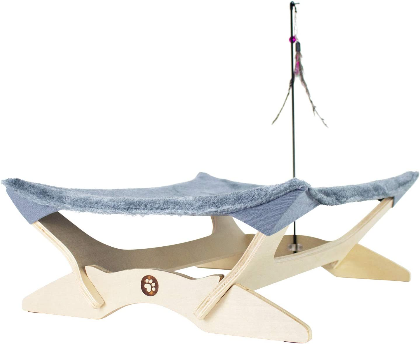 FrontPet Cat Hammock Bed, Luxury Lounger for Cats and Small Dogs. Includes Wood Base, Comfy Bed Hammock, and Feather Toy