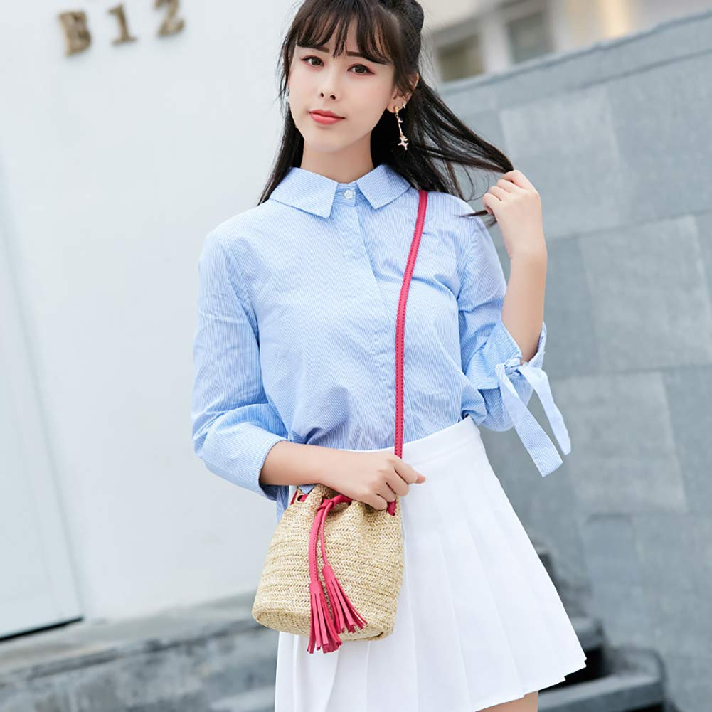 Aoile Women Fashion All-match Straw Weaving Tassel Single Shoulder Bag Rose red