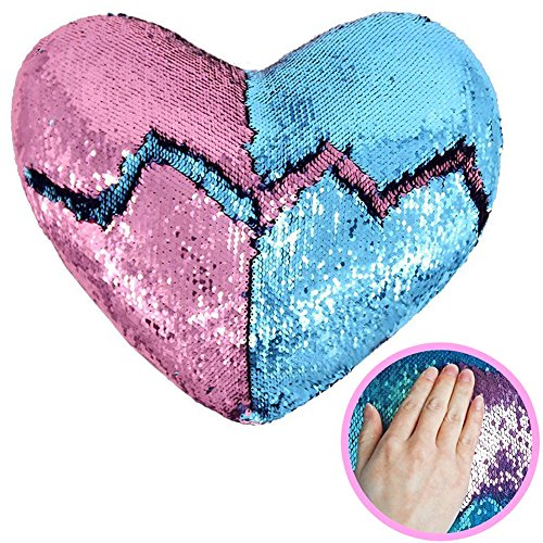 Flip Cushion - Heart Shape Sequin Pillow with Insert Mermaid Reversible Color Change Throw Shiny Two Color Flip Cushion Magic Write On Girls Gift Bolster for Sofa Couch Bedroom Car 14