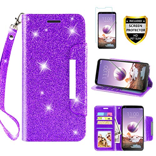 LG Stylo 4 Case, Phone Wallet for LG Stylo 4 Plus/Stylo 4+/Q Stylus 4,with Protector Screen TPU + Leather Bling Glitter Flip Wallet Case with Kickstand Credit Card Holder Slot for Girls/Wome(Purple)