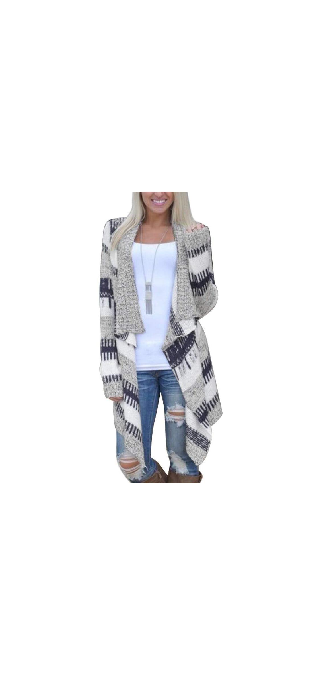 Camo Cardigan Coat For Womens, Open Front Draped Long