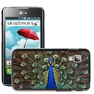 Hot Style Cell Phone PC Hard Case Cover // M00113684 Turkey Royal Peacock Ave Feathers // LG Optimus L5 II Dual E455 / E460