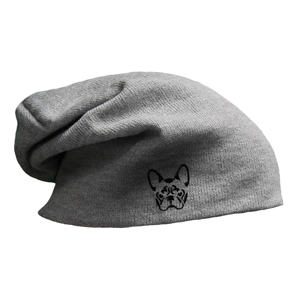 Custom Slouchy Beanie French Bulldog Silhouette Embroidery Cotton ...