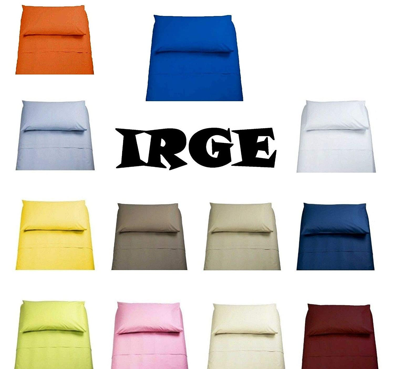 LENZUOLA Set Completo IRGE 100/% Cotone 1 Piazza E Mezza Tinta Unita Vari Colori sotto sopra Federa Offerta /… Rosa