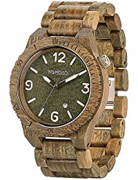 Wewood Men's Alpha ALPHA-ARMY Green Wood Analog Quartz Watch with Green Dial
