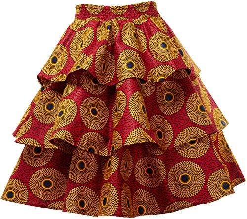 HongyuAmy Women African Print Skirt Ankara Skirts Dashiki Clothing (Large, Color B)