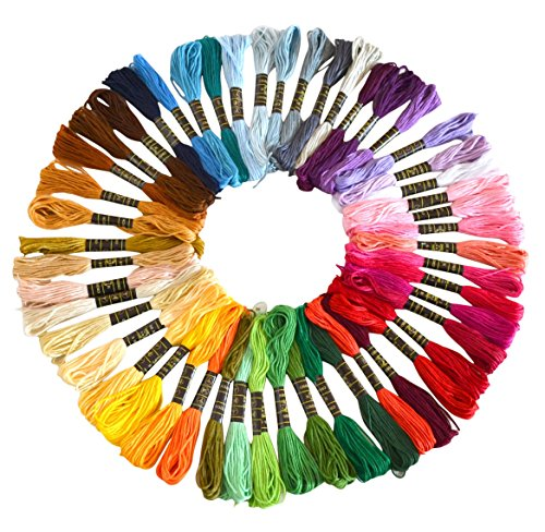 : Soledi Embroidery Floss 50 Skeins Embroidery Thread Rainbow Color Cross Stitch Floss