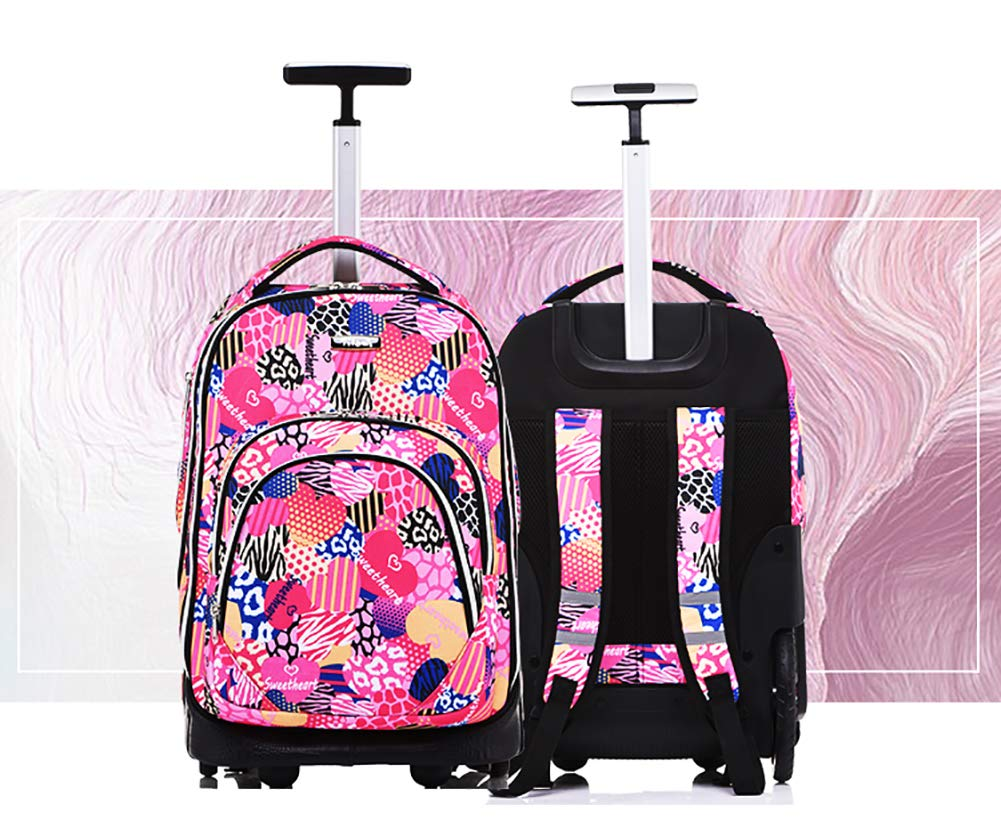 Rolling Backpack School Travel Backpack High Capacity Can Climbing Stairs Trolley School Bags for Boys Girls