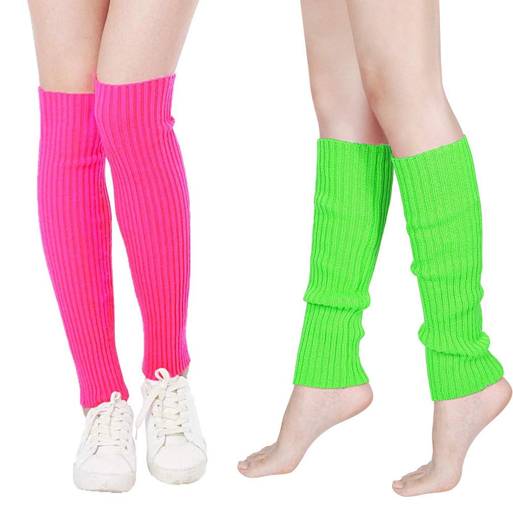 Women's 80s Leg Warmers Fancy Dress Accessories 2 Colors for Fashion Retro 80s Party Outfit Costume Set Ladies and Girls (Pink+Green)