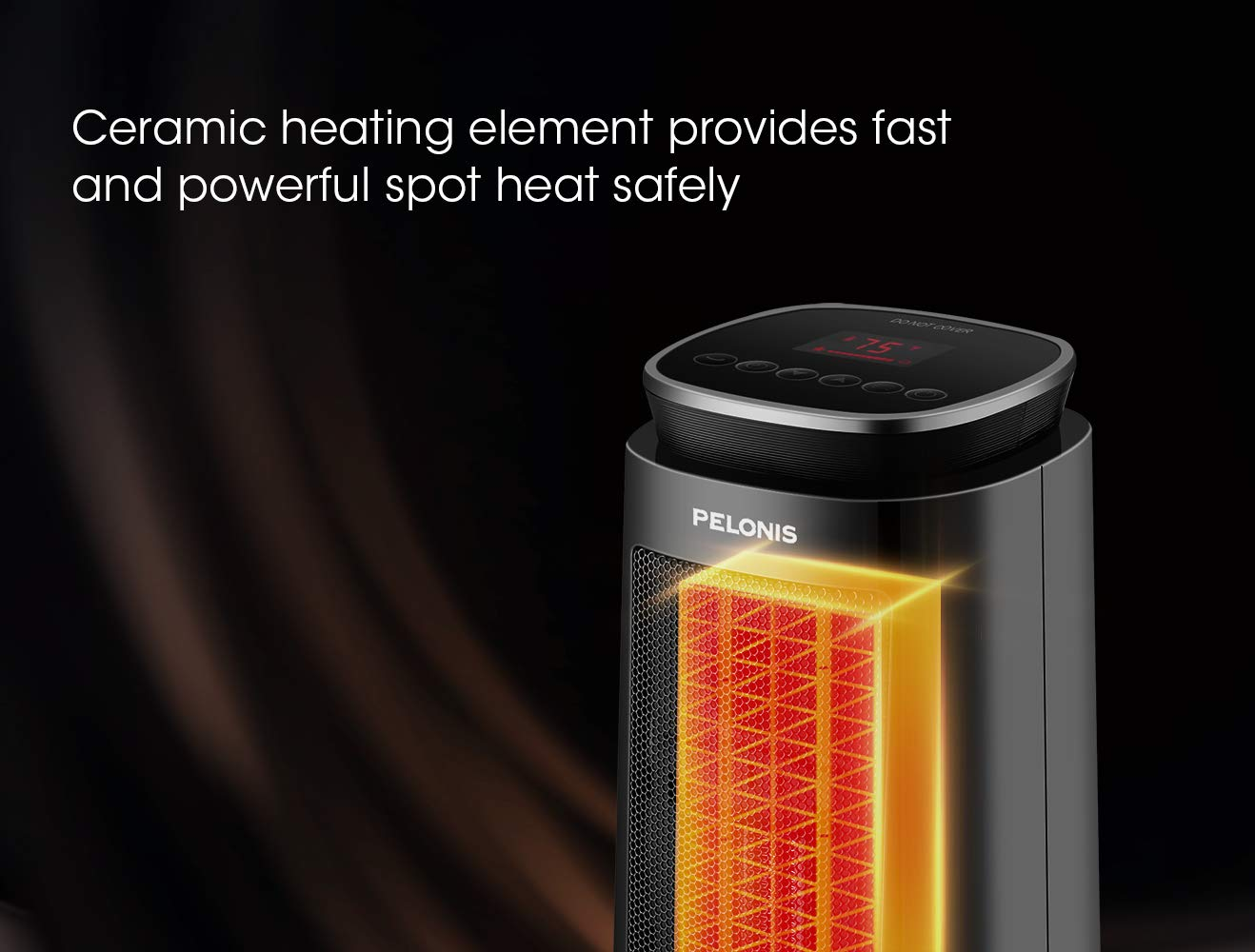 1500W Electric Portable Tower Heater with 8-Hour Programmable Timer Oscillating Safe Heater for Indoor Use PELONIS Ceramic Space Heater Remote Control
