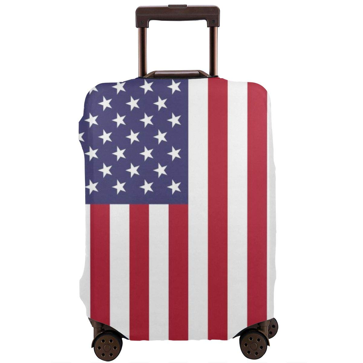 American Flag Elastic Travel Luggage Cover,Double Print Fashion Washable Suitcase Protective Cover Fits 18-32inch Luggage