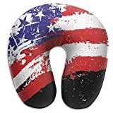 Raglan Carnegie Watercolor US America Flag U Shaped Pillow Neck Head Cushion Support Rest Outdoors Car Office Home Travel Pillow