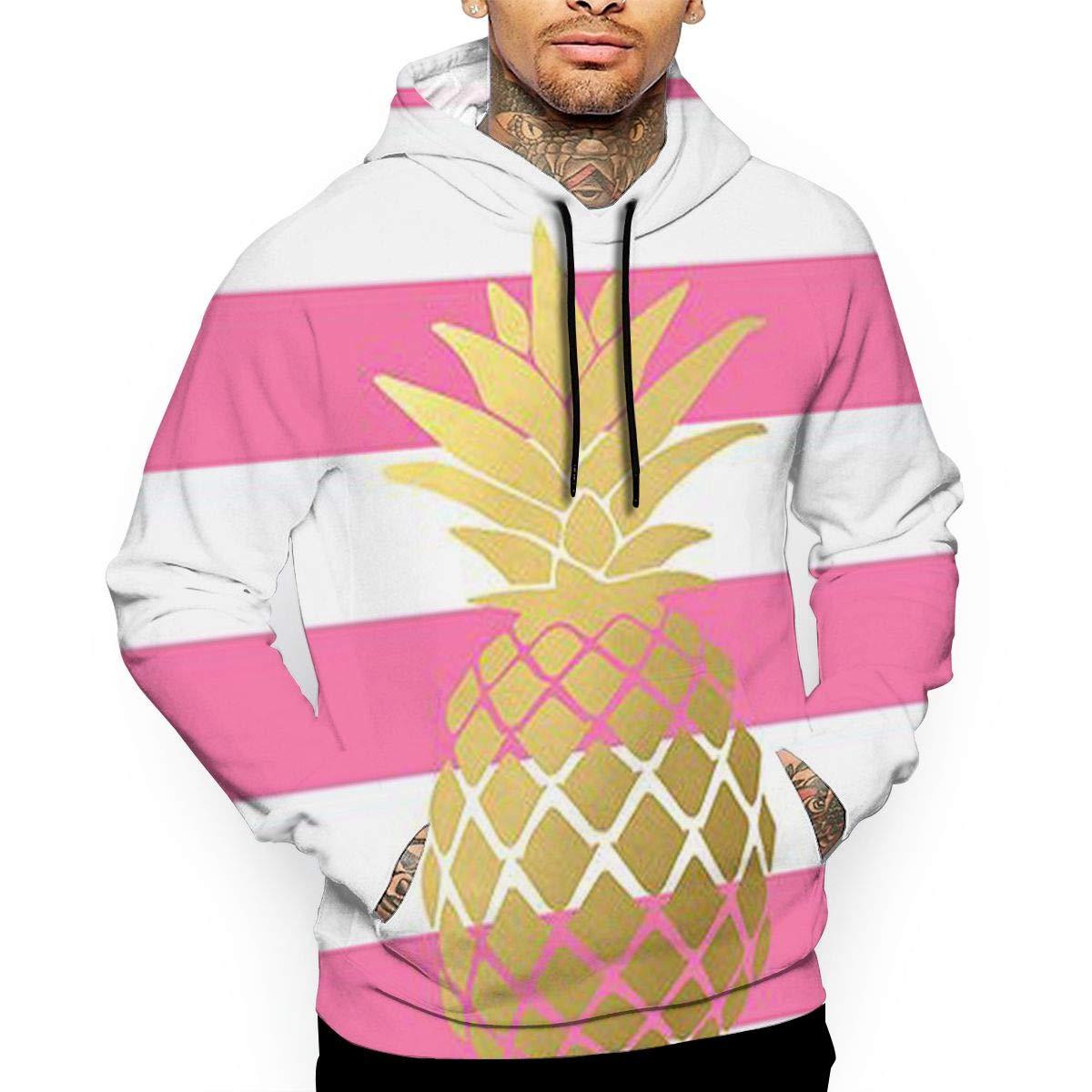 YUANSHAN Gold Stripe Pineapple Mans Long Sleeve Hoodie Casual Pocket Hooded Sweatshirt