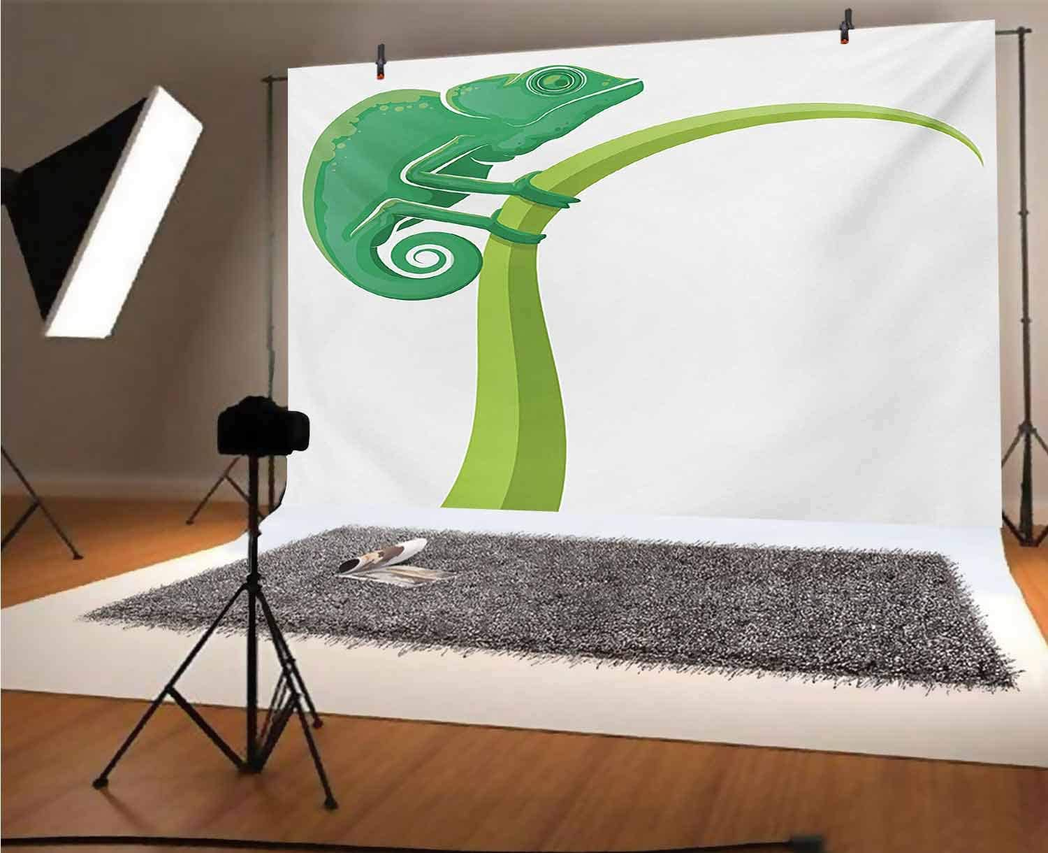 Reptile 12x10 FT Vinyl Photo Backdrops,Exotic Grumpy Lizard Holding onto Grass with Curled Tail Jungle Cartoon Camouflage Background for Child Baby Shower Photo Studio Prop Photobooth Photoshoot