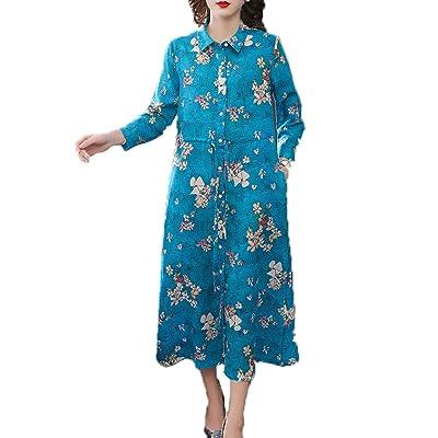 LPP Vestido De Maternidad, Estilo Chino Camisa con Estampado Retro Vestido De Ramio Vestido De Maternidad De Gran Tamaño,XL: Hogar
