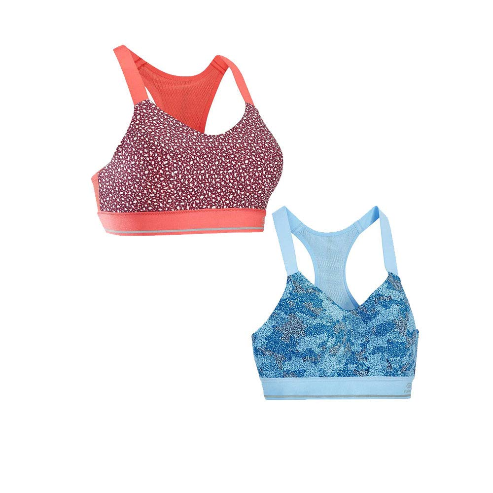 bluee floral+pink floral S Women's Full Picture no Bounce XL Camisole Wireless Back Sports Bra
