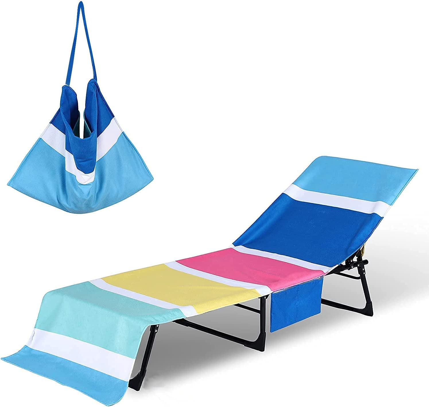 Beach Lounge Chair Towel Cover Quick Drying,Soft Microfiber Beach Towel Swimming Patio Pool Chair Cover with Pockets Detachable for Outdoor Garden Summer Rest Sun Lounger Hotel Vacation