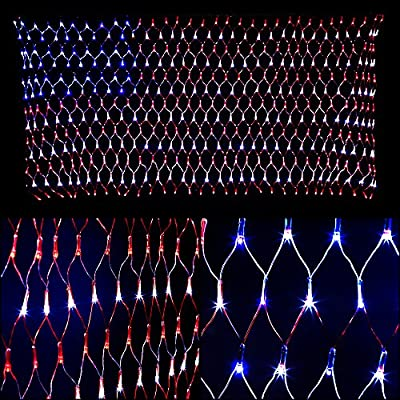 YULIANG 6.5ft×3.2ft Led Flag Net Lights of The United States,for Festival,Holiday,Decoration,Garden,Indoor and Outdoor.